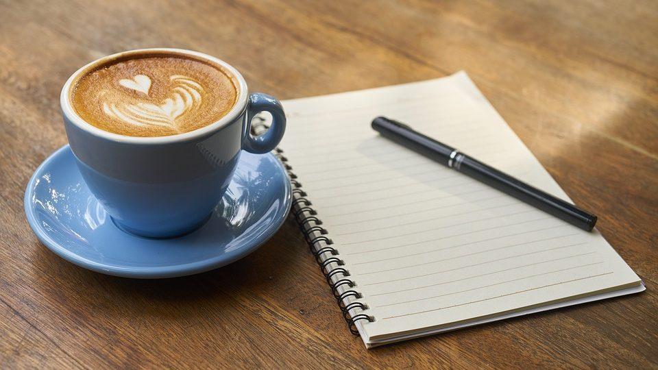 coffee in blue mug